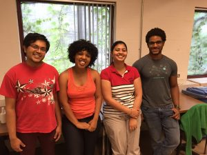 [L->R] Grad studnets Harshil, Claudinéia, Tanushree, and Stephen